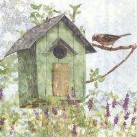 Lunch napkins GREEN BIRDHOUSE
