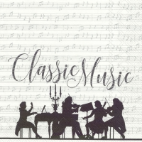 Lunch napkins CLASSIC MUSIC white silver