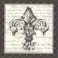 Lunch napkins FRENCH FLEUR DE LIS cr. black