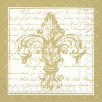 Lunch napkins FRENCH FLEUR DE LIS white gold