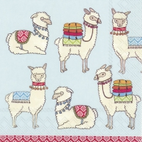 Lunch napkins Happy Lamas light blue