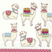 Lunch napkins Happy Lamas white