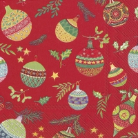 Napkins 33x33 cm - PRETTY GLOBES red