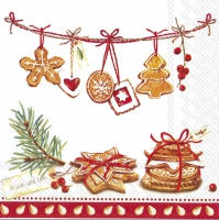 Serviettes de table 33x33 cm - COOKIES, MADE WITH LOVE rouge