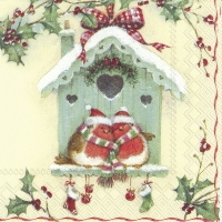 Serviettes de table 33x33 cm - HAPPY CHRISTMAS BIRDHOUSE cr.