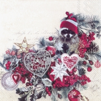 Serviettes de table 33x33 cm - X-MAS RACOON
