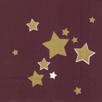 Servetten 33x33 cm - SHINY STARS bordeaux
