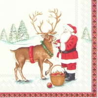 Serviettes de table 33x33 cm - SANTA ET CERFS (V&B)