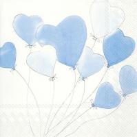 Serviettes de table 33x33 cm - L´AMOUR EST DANS L´AIR bleu clair