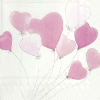 Servietten 33x33 cm - LOVE IS IN THE AIR Lichtrose