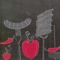 Serviettes de table 33x33 cm - FEU SUR LE GRILLE rouge