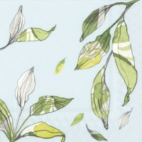 Servietten 33x33 cm - LEAVES hellblau