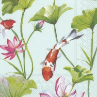 Napkins 33x33 cm - KOI AND WATERLILY light blue