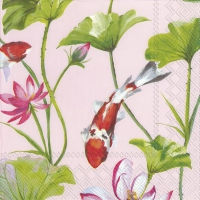 Napkins 33x33 cm - KOI AND WATERLILY light rose