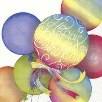 Napkins 33x33 cm - RAINBOW BALLOONS white