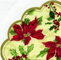 serviettes - round FLORAL CHRISTMAS cream