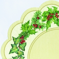 Napkins - round CHRISTMAS GARLAND cream