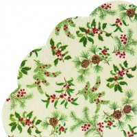 Napkins - round HOLLY BURST cream