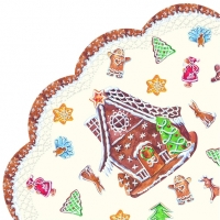 serviettes - round GINGERBREAD VILLAGE