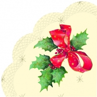 Napkins - round CHRISTMAS BOW cream