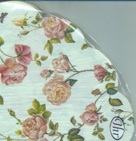 serviettes - round NEW RAMBLING ROSE cream
