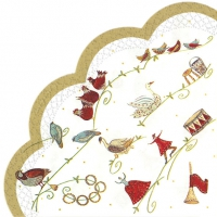 Napkins - round 12 DAYS OF CHRISTMAS wh. gold