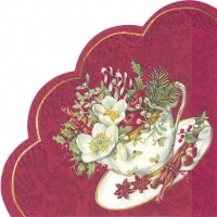 Napkins - round CUP OF CHRISTMAS red