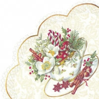 Napkins - round CUP OF CHRISTMAS white