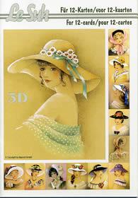 3D Bogen Buch Damen mit Hut - Format A5