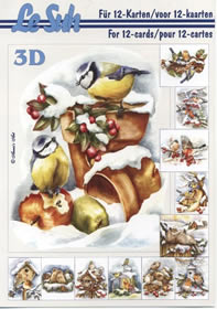 Hojas de 3D - Libro Vögel im Schnee - Formato A5