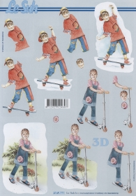 Feuille 3D Kinder mit Roller+Skatboard - Format A4