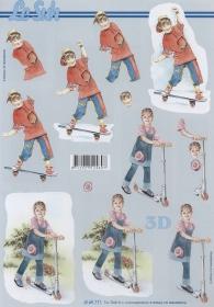 Carta per 3D Kinder mit Roller+Skatboard - Formato A4