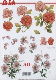 Feuille 3D Rosen + Lilien Format A4