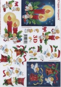 3D sheet Format A4 - Kerzen und Glocken