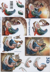 3D Bogen Maria+Josef mit Jesuskind Format A4