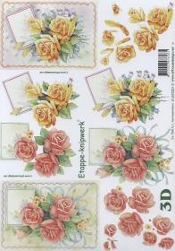 3D Bogen Format A4 Rosen rot + gelb