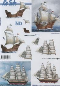 3D Bogen Format A4  Segelschiff