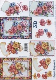 3D sheet Blumen im Rahmen Format A4