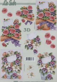 3D Bogen Format A4 Hut mit Rosen
