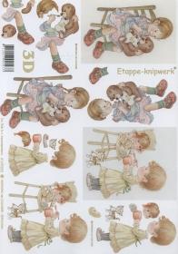 3D Bogen Format A4 Mädchen mit Puppe