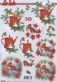 3D sheet Rotkehlchen+Gießkanne Format A4