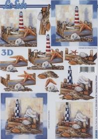 3D sheet Seestern+Leuchtturm Format A4