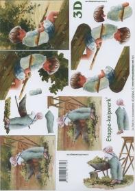 3D Bogen Junge mit Angel Format A4