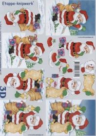 3D Bogen Weihnachtsmann mit Sack Format A4