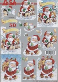 Feuille 3D Weihnachtsmann und Bär
