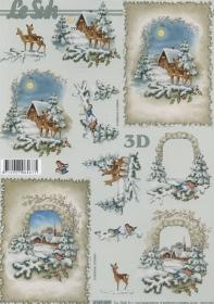 Feuille 3D Rehe im Wald Format A4