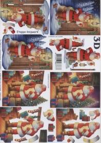 Feuille 3D Weihnachtsmann Format A4