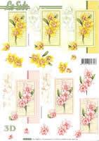Hojas de 3D Narzissen rosa+gelb Format A4