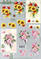 3D sheet Sonnenblumen und Rosen