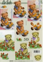 3D sheet Bär mit Blumen Format A4